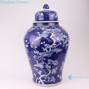 RZOY31 Qing blue and white wrapped branches of flowers ceramic jars with lids porcelain