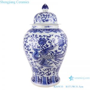RZOY33 wholesale blue and white porcelain ginger jars handmade blue and white double dragon ceramic jars with lids porcelain