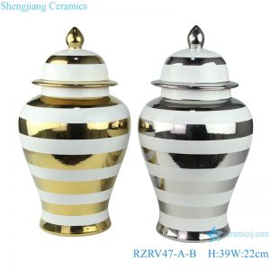 RZRV47-A-B Gold and silver colored glaze striped ceramic ginger jar