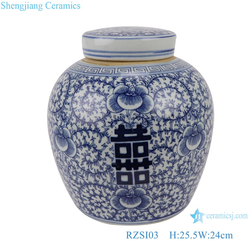 RZSI03 Blue and white happy character design big storage pot with a lid
