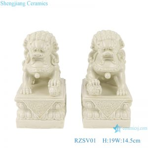 RZSV01 Handmade solid color beige lion porcelain ornaments for pair