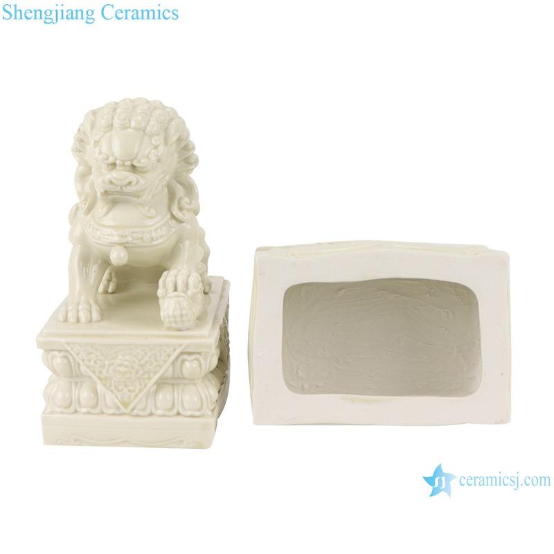 RZSV01 Handmade solid color beige lion porcelain ornaments