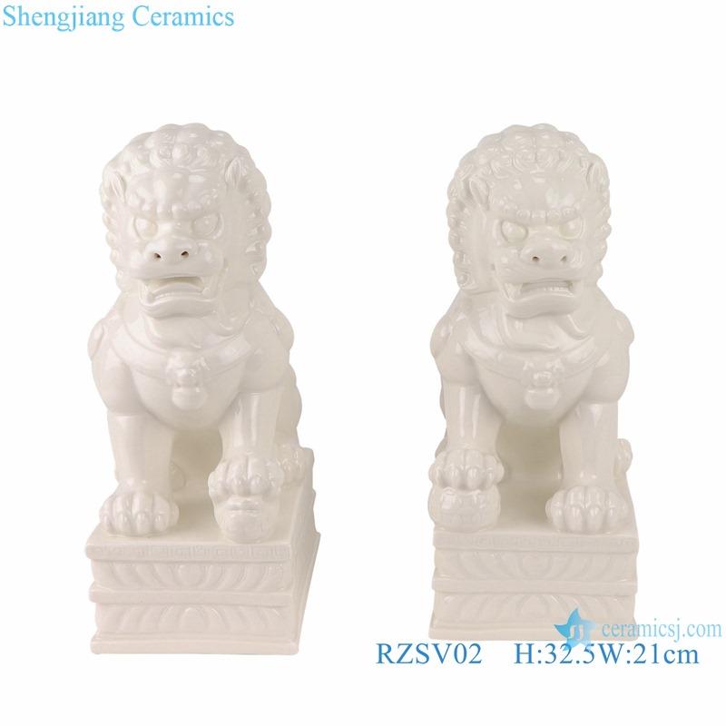 RZSV02 Handmade solid color white lion porcelain ornaments for pair