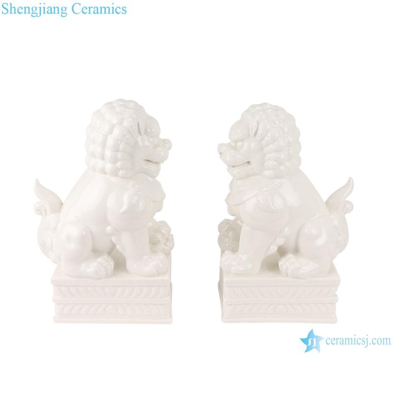 RZSV02 Handmade solid color white lion porcelain ornaments