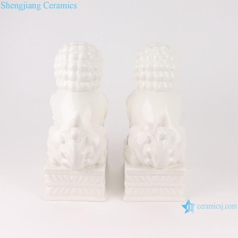 RZSV02 Handmade solid color white lion porcelain ornaments-profile