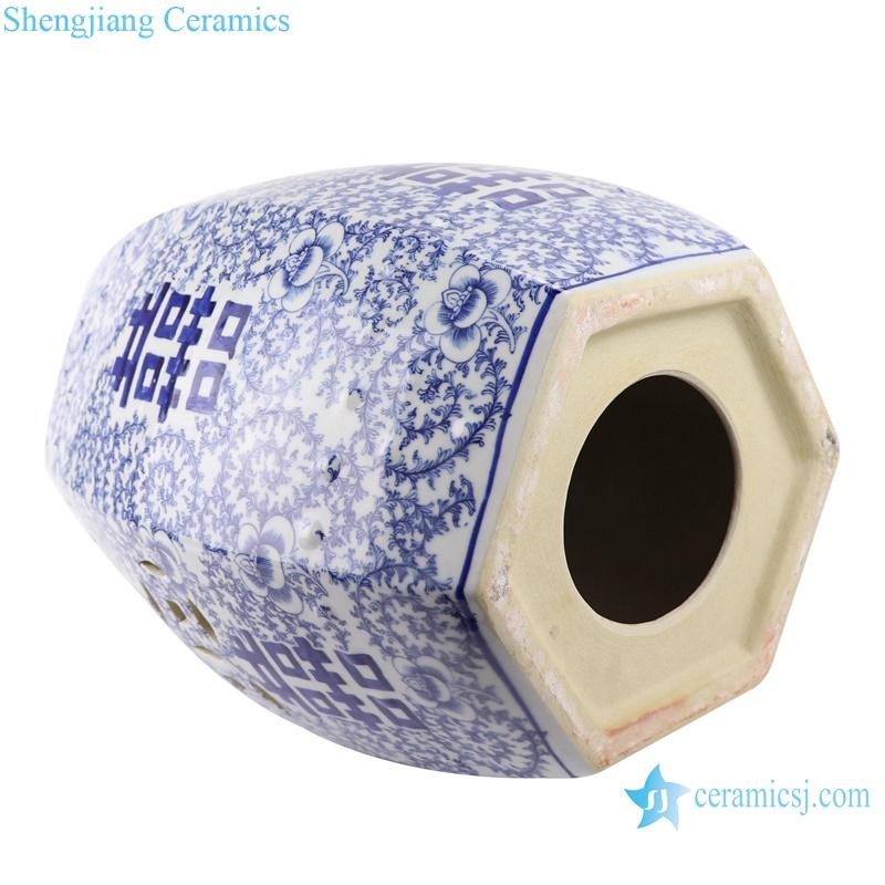 RYLU191 blue and white garden stool