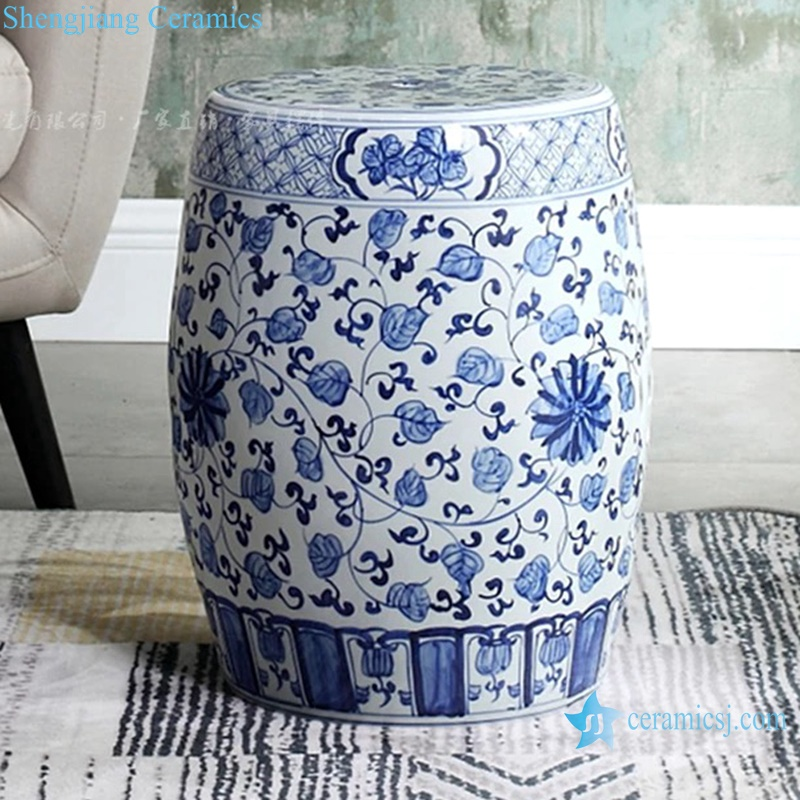one side of the ceramic stool