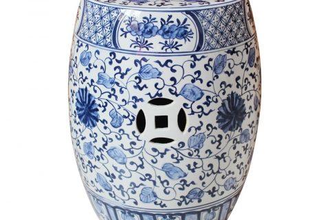 RYNQ250-B blue and white garden stool
