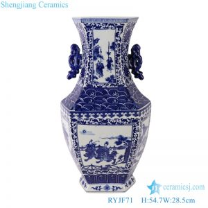 RYJF71 Blue and white two-aural figure porcelain vase with six sides