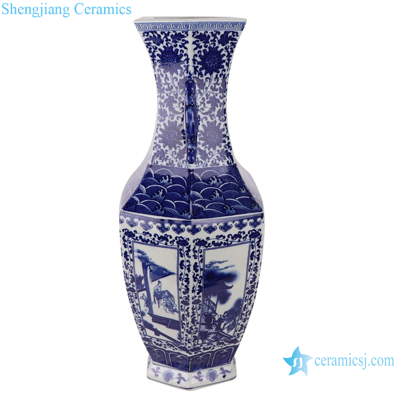 Blue and white two-aural figure porcelain vase with six sides