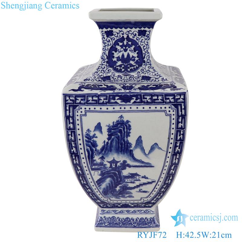 RYJF72 Blue and white landscape square ceramic vase