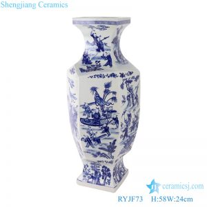 RYJF73 Blue and white figure children playing six-sided profiled vase