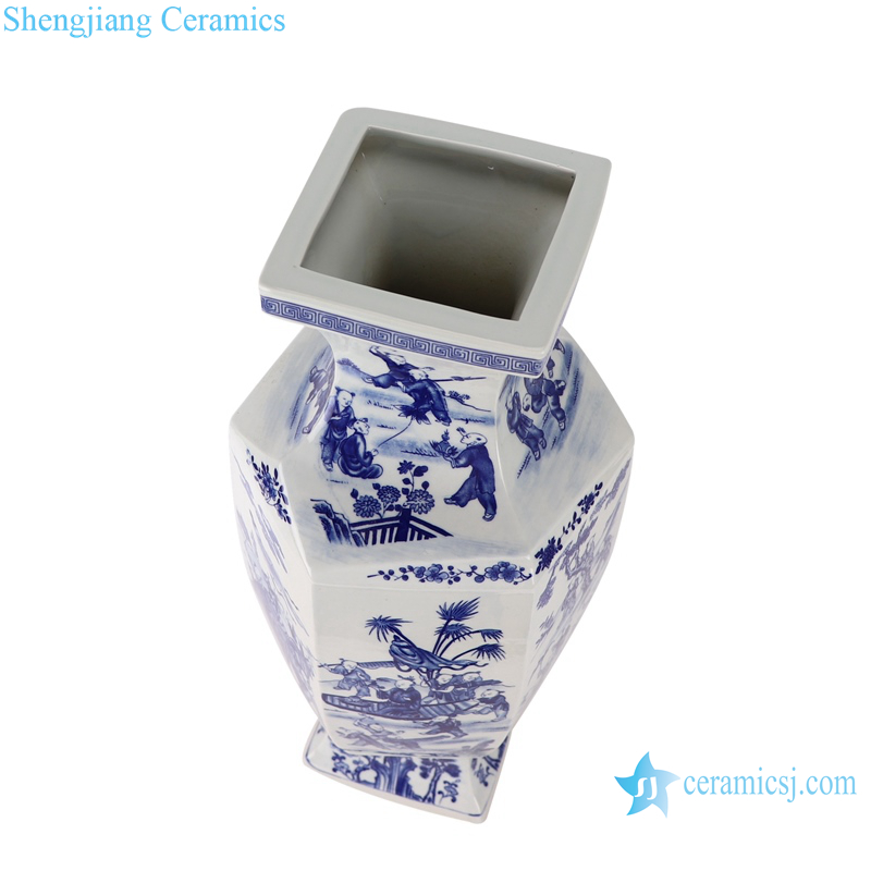 Blue and white figure children playing six-sided profiled vase