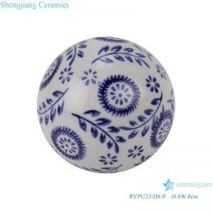 RYPU23-D8-P Blue and white tree leaf pattern floating ball ceramic ball