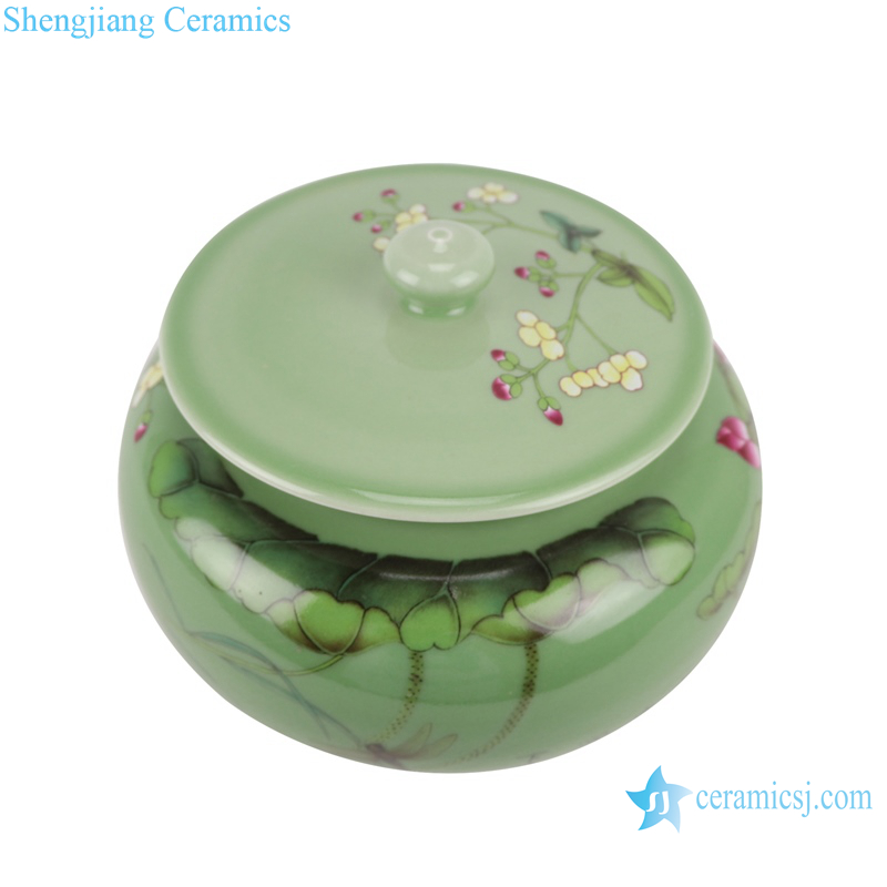 RZBO05 Green pot storage pot with lotus cover