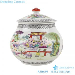 RZBO06 Pastel figures children canister storage jar with lid