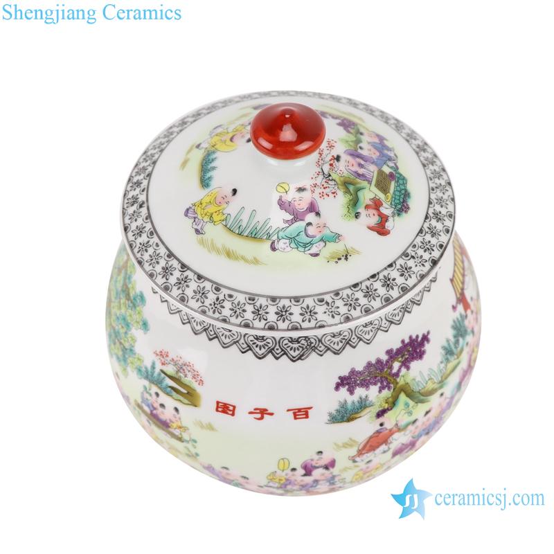 Pastel figures children canister storage jar with lid