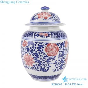 RZBO07 Blue and white lotus ceramic tea canister storage with lid