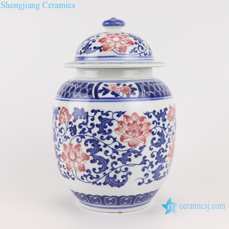 Blue and white lotus ceramic tea canister storage with lid