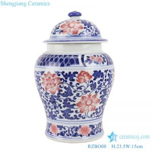 RZBO08 Blue and white youligong wrapped branch lotus general pot