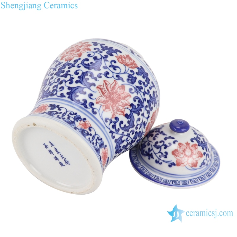 Blue and white youligong wrapped branch lotus general pot
