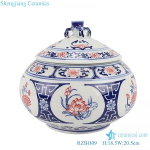 RZBO09 Blue and white youligong lotus lotus tea canister storage tank with lid