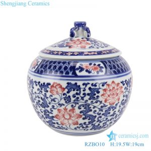 RZBO10 Blue and white youligong twig lotus tea canister storage tank