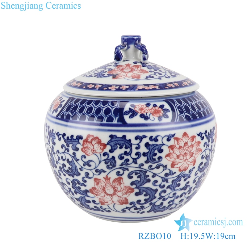 Blue and white youligong twig lotus tea canister storage tank