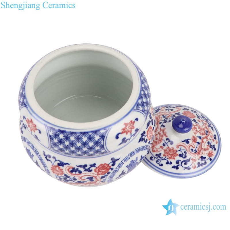 RZBO11 Blue and white twig shou word grain tea canister storage tank