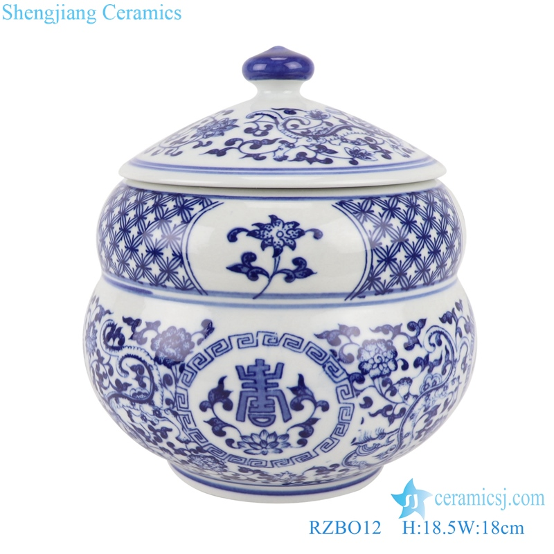 RZBO12 Blue and white twigs lotus text design tea canister pot