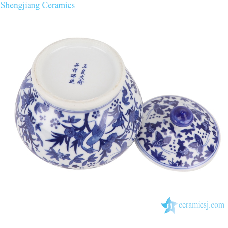 RZBO14 Blue and white tea canister with butterfly pattern