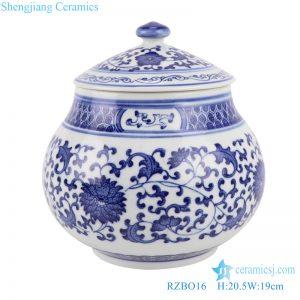RZBO16 Blue and white tangle branch lotus storage pot tea pot