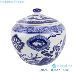 RZBO17 Blue and white flowers&birds, pine, bamboo and plum design tea canister storage tank