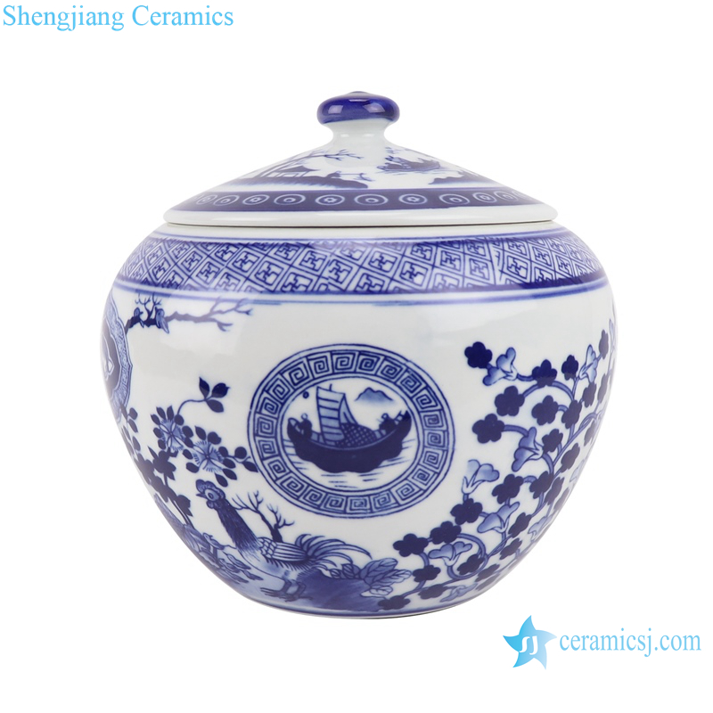 Blue and white flowers&birds, pine, bamboo and plum design tea canister storage tank