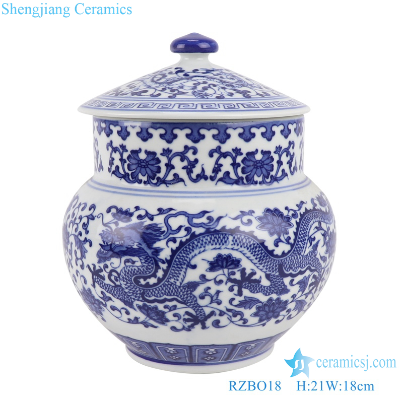 RZBO18 Blue and white lotus dragon pattern tea canister storage with lid