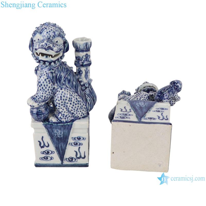 RZGB30 Blue and white sculpture squatting poodle candlestick