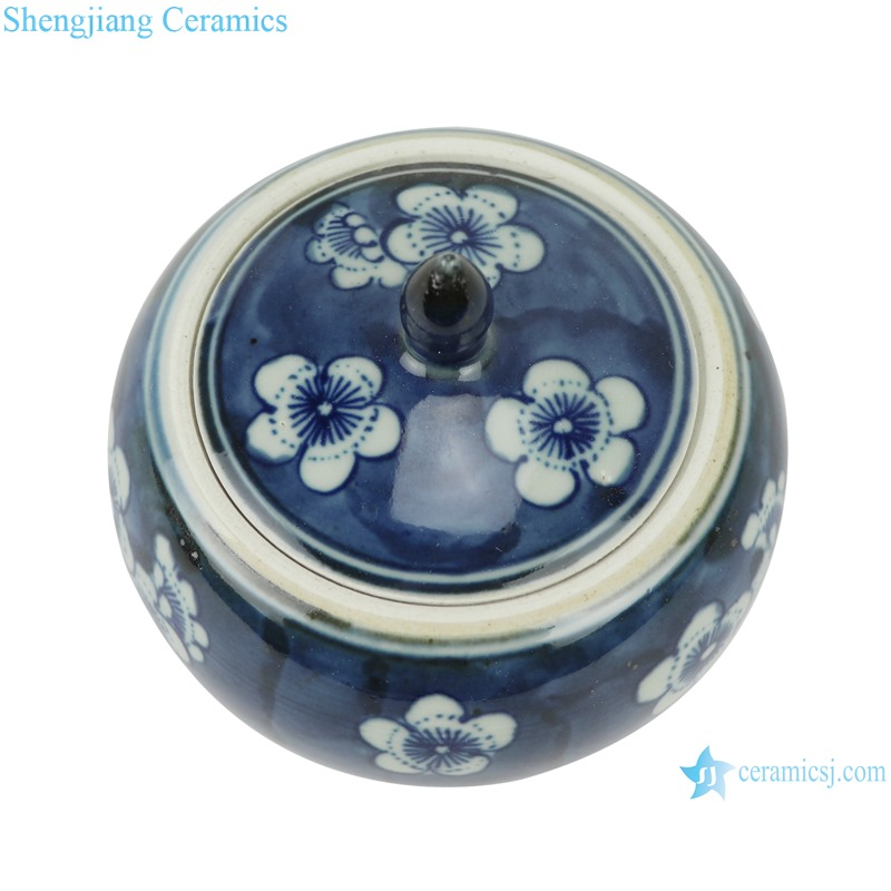 RZHC01-A Blue and white ice plum ceramic storage pot with lid