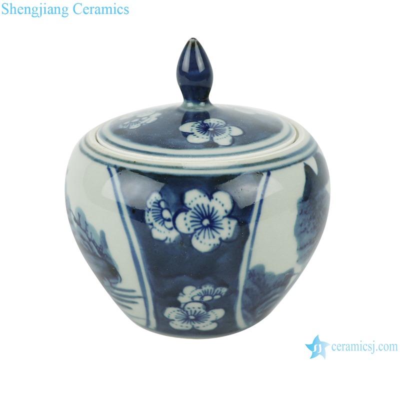 RZHC01-B Blue and white ice plum landscape ceramic storage pot