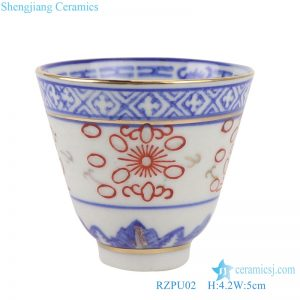 RZPU02 Blue and white with color painting gold orchid heart thin small teacup