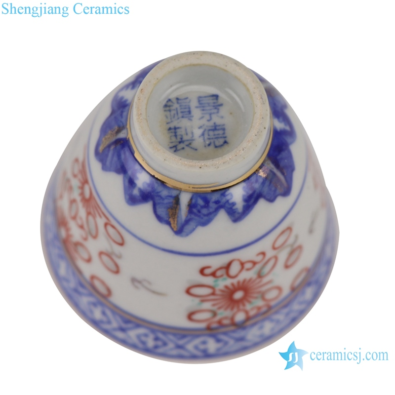 Blue and white with color painting gold orchid heart thin small teacup
