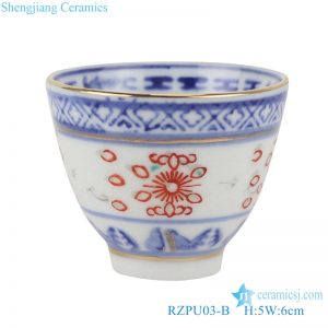 RZPU03-B Blue and white glaze red gold dragon pattern thick tea cup with color painting