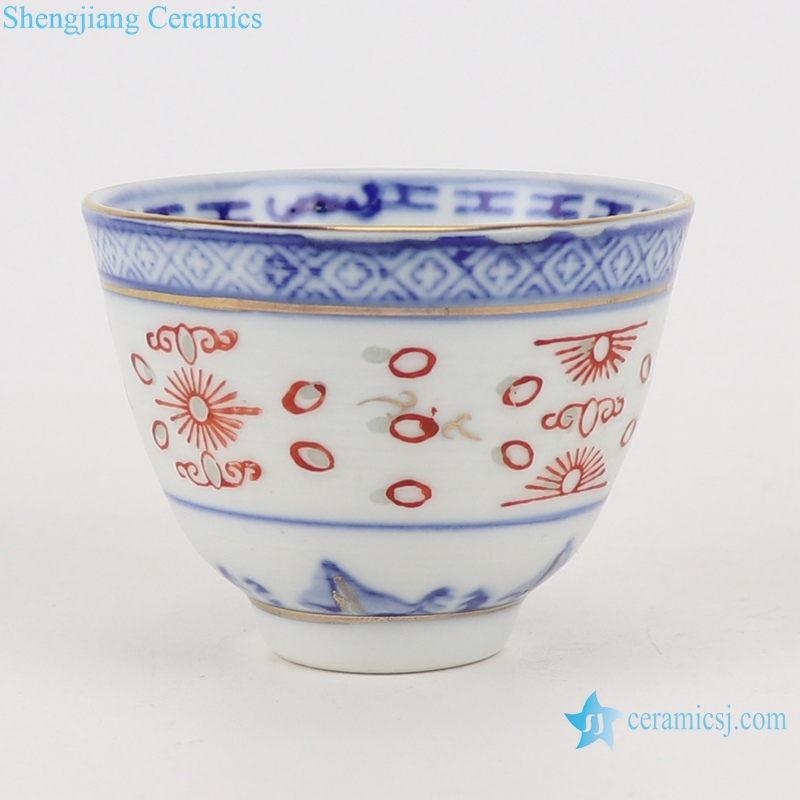 RZPU04 Blue and white painted gold dragon pattern thick two cylinder cup small cup