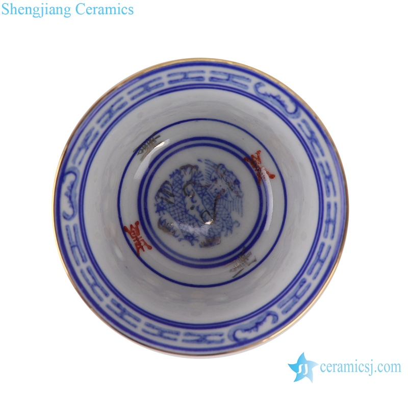 RZPU05 Blue and white gold dragon print horseshoe cup small tea cup