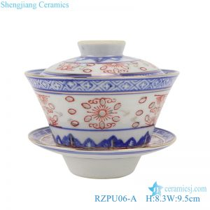 RZPU06-A Blue and white with color painting gold dragon pattern three to cover bowl tea bowl