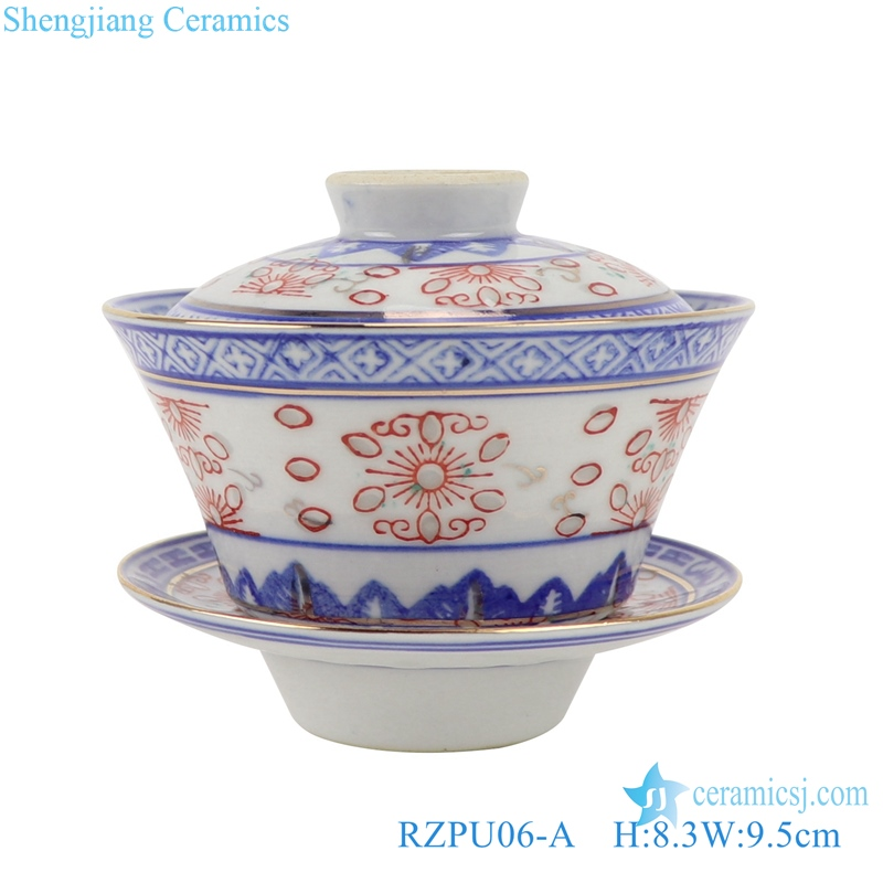 Blue and white with color painting gold dragon pattern three to cover bowl tea bowl