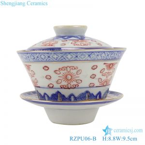RZPU06-B Blue and white with color painting gold crane pattern three to cover bowl tea bowl