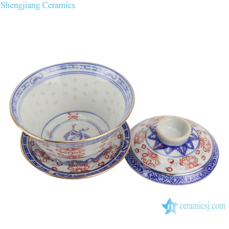 Blue and white with color painting gold crane pattern three to cover bowl tea bowl
