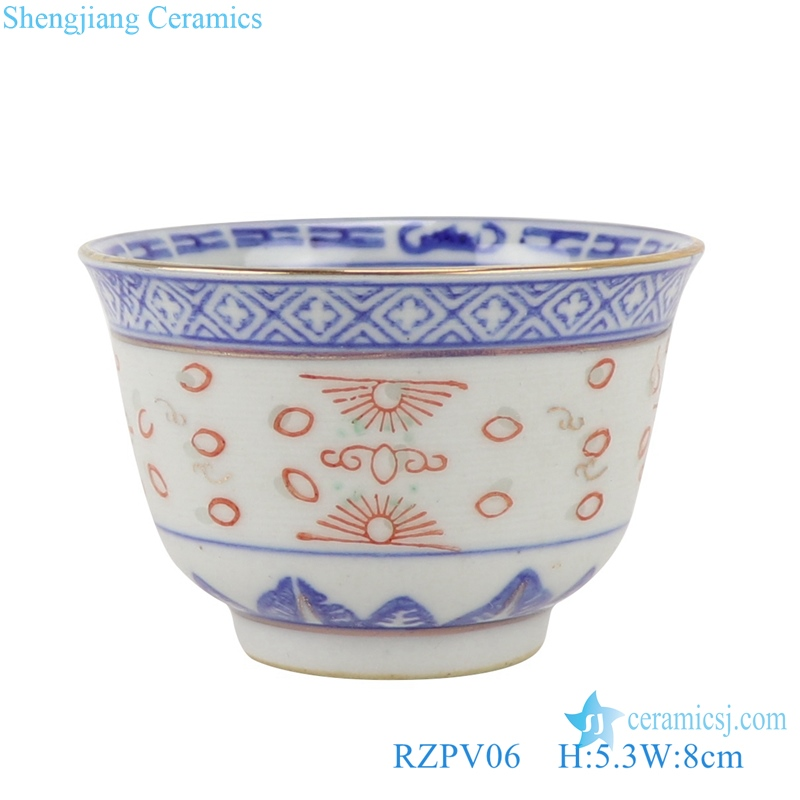 RZPV06 Blue and white tea cup with gold dragon pattern