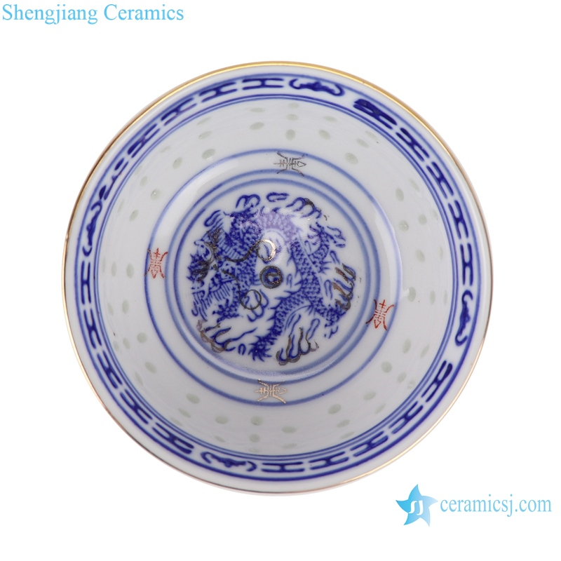 RZPV07 Blue and white color painting gold dragon grain 4 inch bowl rice bowl