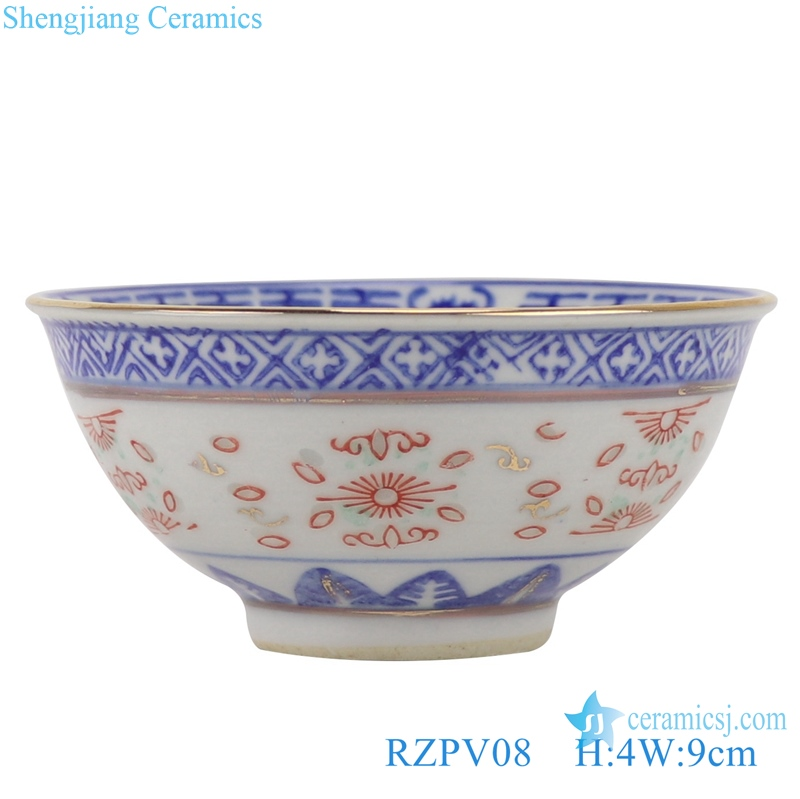 RZPV08 Blue and white old exquisitely ceramic painted gold small tea bowl